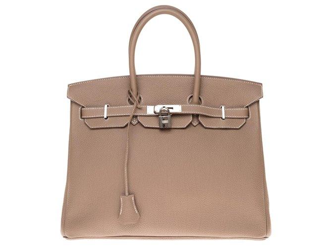 Hermès HERMES BIRKIN BAG 35 etoupe color Togo leather, Palladie silver metal trim,  In very good condition! Handbags Leather Grey ref.169176