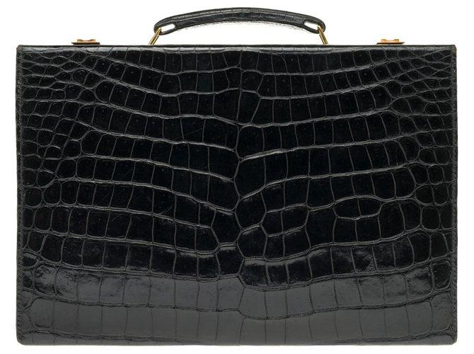 Hermès Vintage Hermès jet case / case in black Crocodile! Purses, wallets, cases Exotic leather Black ref.169177