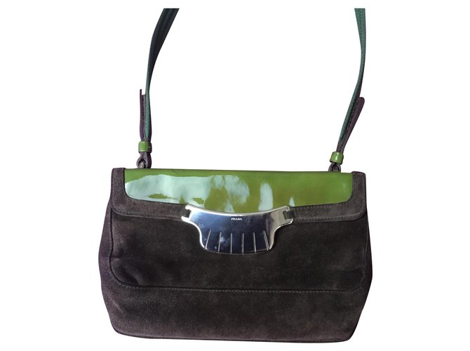 Prada Prada wand Handbags Leather Chocolate ref.169182