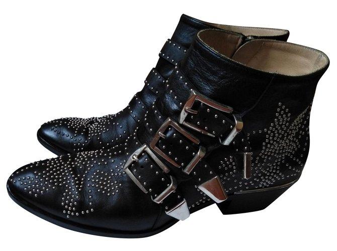 Chloé Susanna Ankle Boots Leather Black ref.169200