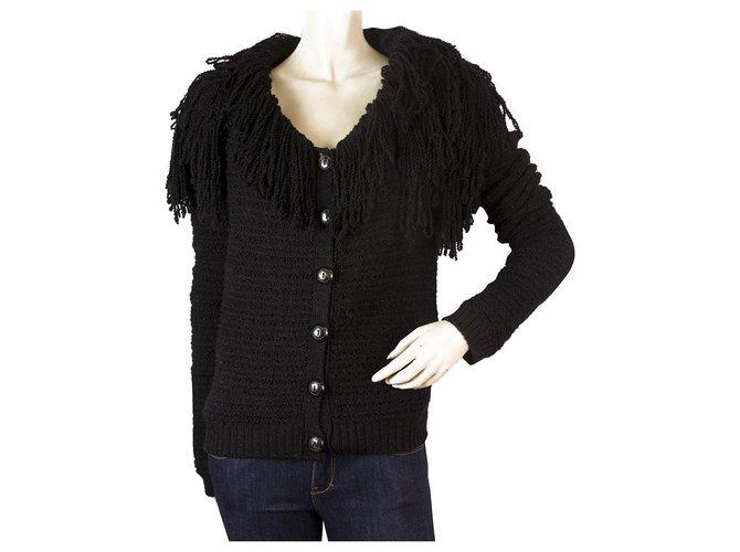 Vestes Christian Dior Christian Dior Black Fringe collar Wool Alpaga Knit Cardigan Jacket US4 IT40 GB8 Bois Noir ref.169207