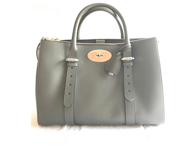 Mulberry Bayswater lined zip Handbags Leather Grey ref.169219