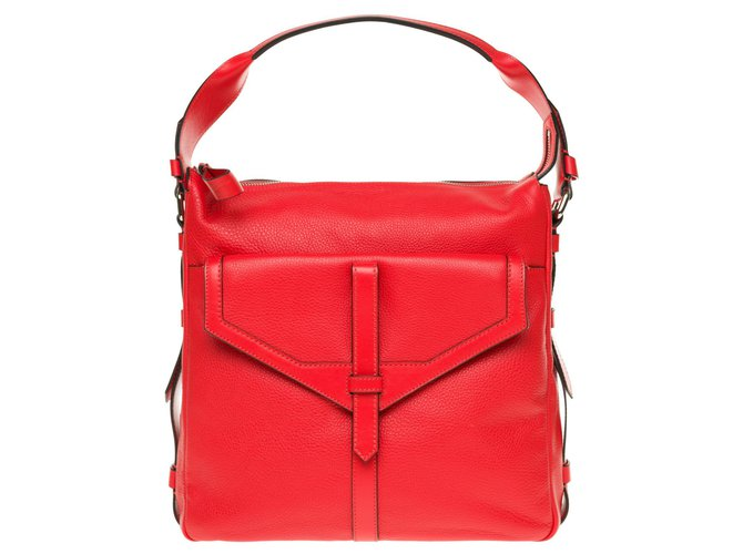 """Lancel Lancel messenger bag model """"Jo-Besace"""" in red grained leather, new condition! Handbags Leather Red ref.169268"""
