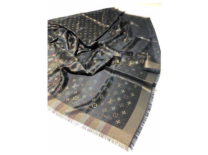 Louis Vuitton Louis Vuitton monogram SO SHINE Scarves Silk,Wool,Viscose Brown ref.169277
