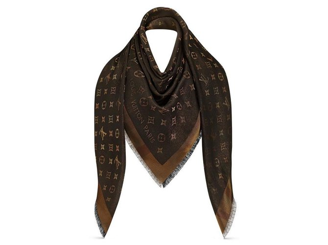 Louis Vuitton I know Shine Monogram Scarves Other,Silk,Wool,Viscose Black ref.169299