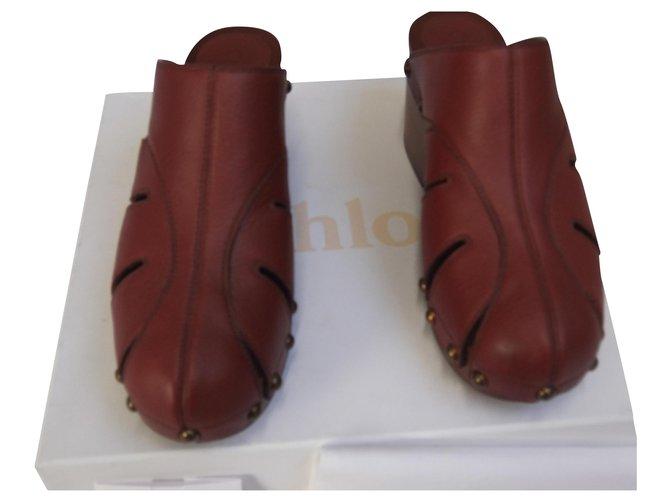 Chloé Sandals Sandals Leather Dark red ref.169320