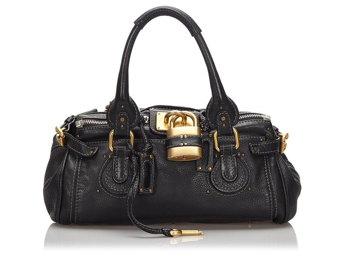 Chloé Chloe Black Leather Paddington Handbag Handbags Leather,Other Black ref.169463