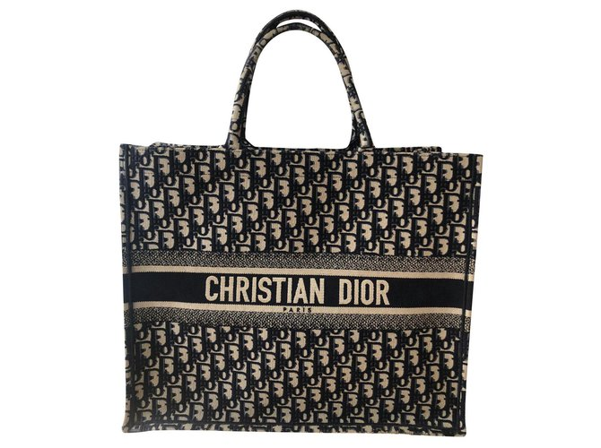Dior Tote book Handbags Cotton Grey,Navy blue ref.169547