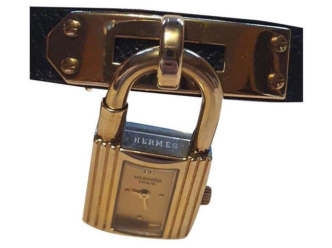 Montres Hermès Kelly Plaqué or Noir ref.169562