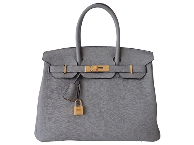 Hermès HERMES BIRKIN BAG 30 Handbags Leather Grey ref.169599