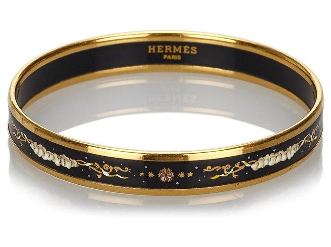Bracelets Hermès Bracelet jonc en émail doré Hermes Autre,Métal Noir,Doré ref.169704