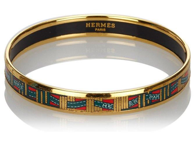 Bracelets Hermès Bracelet jonc en émail doré Hermes Autre,Métal Noir,Doré ref.169879