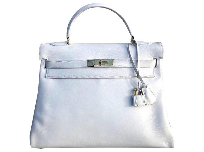 Hermès Kelly bag 32 Vintage white Handbags Leather White ref.170158