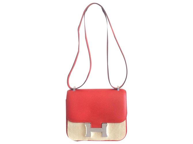 Sacs à main Hermès Sac Hermes Constance Rouge Cuir Rouge ref.170170