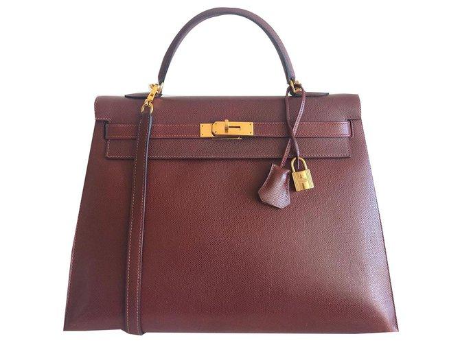 Hermès Hermes Kelly bag 35 Bordeaux Handbags Leather Dark red ref.170175