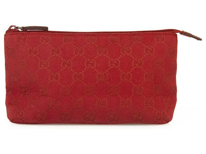 Pochettes Gucci Gucci Monogram Deep Red Canvas Clutch Bag Sac à main Zip top Travel Pochette Coton Rouge ref.170185