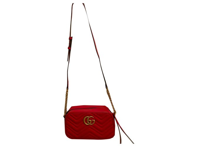 Gucci Marmont Handbags Leather Red ref.170191