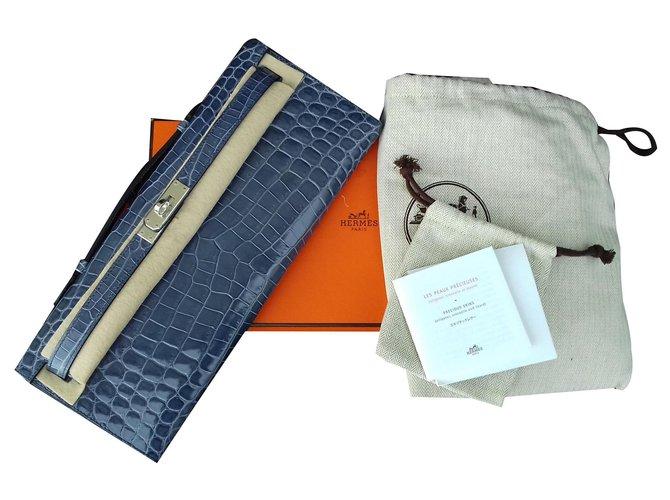 Hermès Hermès Kelly Cut Blue Brigthon Crocodile Clutch handbag New Condition Handbags Exotic leather Blue ref.170207