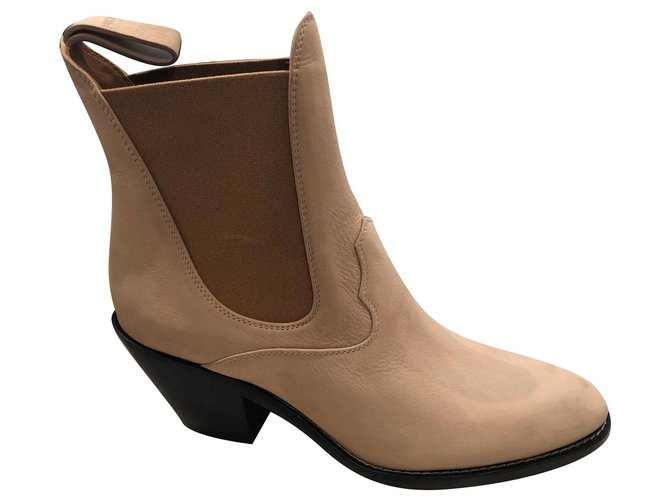 Chloé western boots Ankle Boots Suede Beige ref.170327