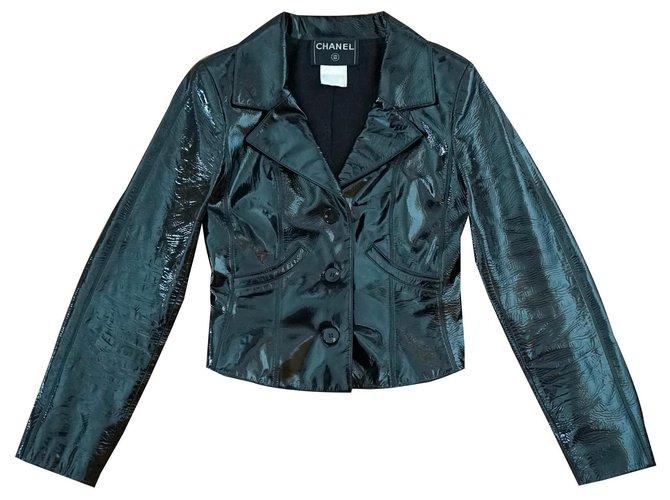 Chanel Jackets Jackets Leather,Silk Black ref.170727