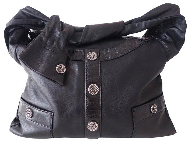 Chanel CHANEL GIRL BLACK BAG Handbags Leather Black ref.170942