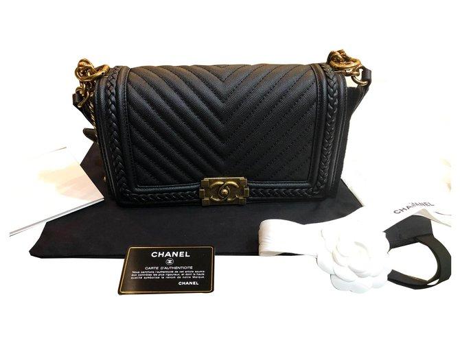 Chanel Chanel old boy Handbags Leather Black ref.170989