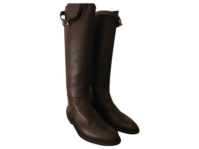 Hermès Kelly riders Boots Leather Chocolate ref.170996