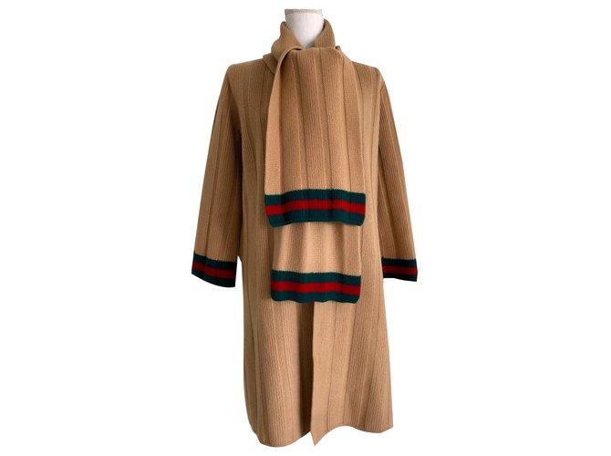 Manteaux Gucci Manteau en laine Gucci Laine Beige ref.171011