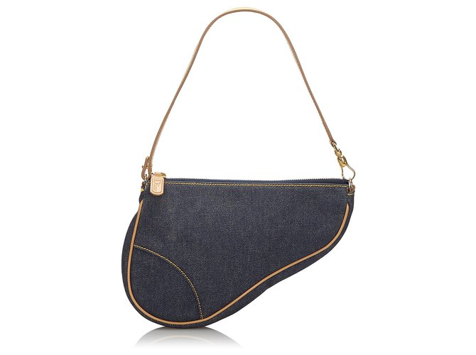Dior Dior Blue Denim Mini Saddle Baguette Handbags Leather,Other,Denim,Cloth Brown,Blue,Light brown,Navy blue ref.171068