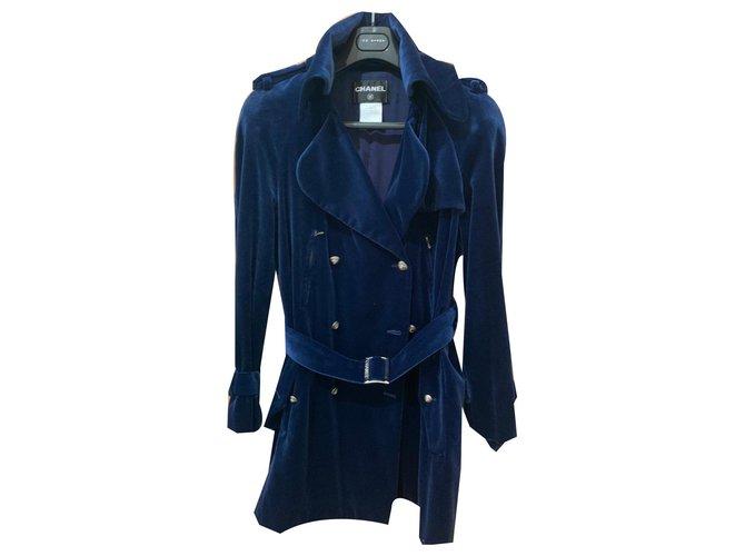Chanel Coats, Outerwear Coats, Outerwear Silk,Velvet Blue ref.171110