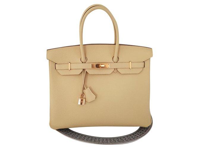 Hermès HERMES BIRKIN 35 Jaune Poussin Handbags Leather Yellow ref.171255