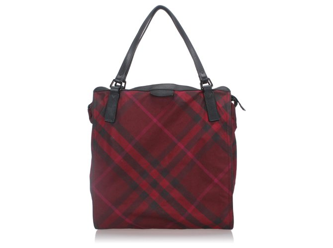 Burberry Burberry Red Plaid Nylon Buckleigh Tote Bag Totes Leather,Other,Nylon,Cloth Black,Red ref.171368