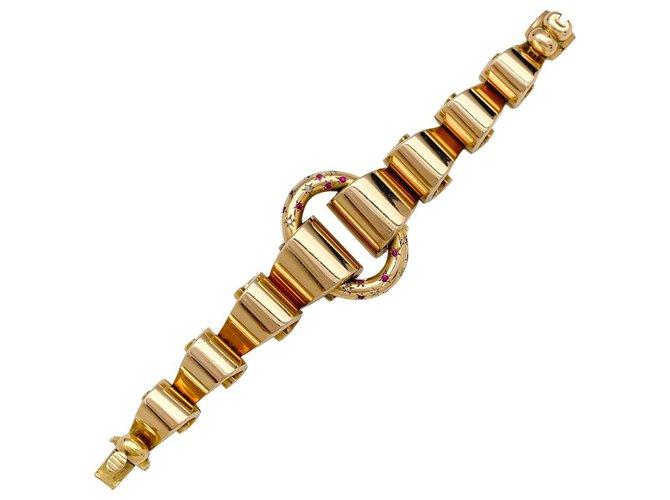 Bracelets Bracelet Tank en or rose, diamants et pierres rouges. Autre,Or rose Autre ref.171506