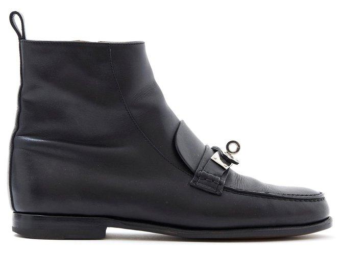 Hermès KELLY BLACK FR38 Ankle Boots Leather,Metal Black,Silvery ref.171544