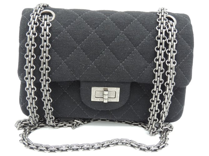 Sacs à main Chanel CHANEL MINI 2.55 Tissu Noir ref.171553