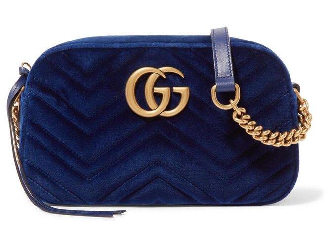 Gucci Gucci GG Marmont Crossbody Matelasse Velvet Small Cobalt Blue Handbags Velvet Blue ref.171721