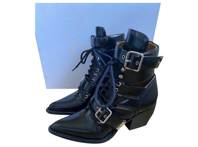 Chloé Rylee Ankle Boots Leather Black ref.171731