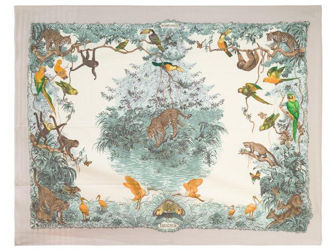 """Hermès Superb Hermès """"Ecuador"""" Throw 100% Hand embroidered cashmere Misc Cashmere Green,Grey ref.171767"""