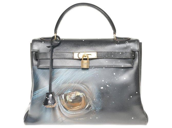 """Sacs à main Hermès Sac Hermès Kelly 32 retourné en cuir box noir customisé """"Cheval"""" # 50 par PatBo Cuir Noir ref.171805"""
