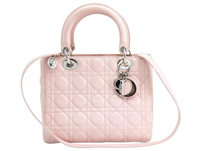 Dior Dior Lady Dior Rose Bag Handbags Lambskin Pink ref.171816