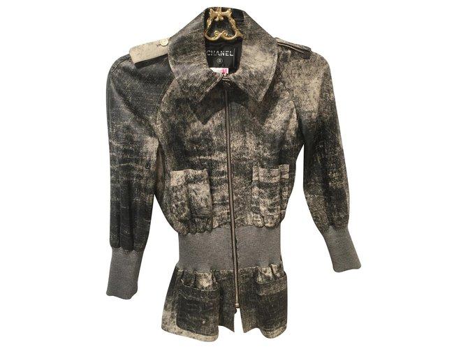 Chanel Jackets Jackets Lambskin Grey ref.171840