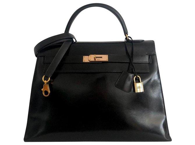 Hermès hermes kelly 32 Sellier Box Black Handbags Leather Black ref.171959
