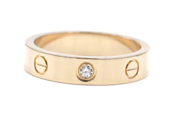 Bagues Cartier cartier 18K 750 1Taille de bague P Diamond Love 50 Or rose Doré ref.171990