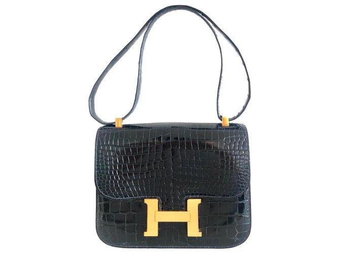 Hermès Hermes Constance Crocodile Navy Blue Vintage Handbags Exotic leather Navy blue ref.172045