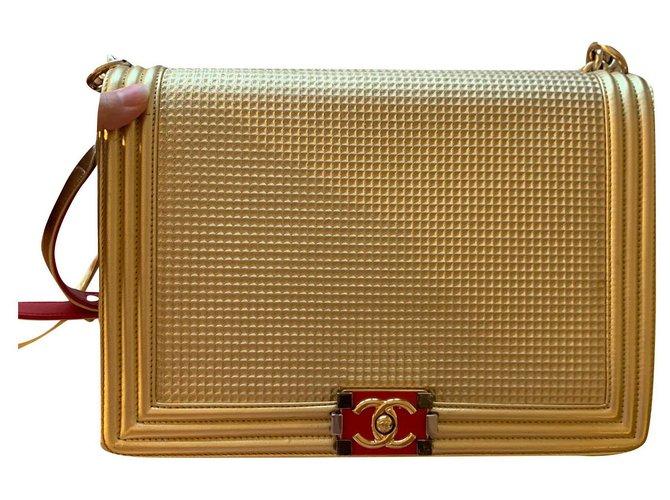 Chanel Boy Dubai Edition Handbags Leather Golden ref.172051