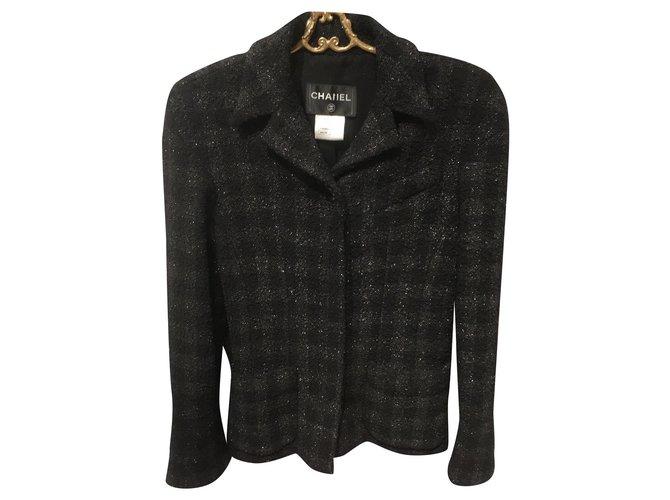 Chanel Jackets Jackets Silk,Wool,Polyamide Black ref.172059