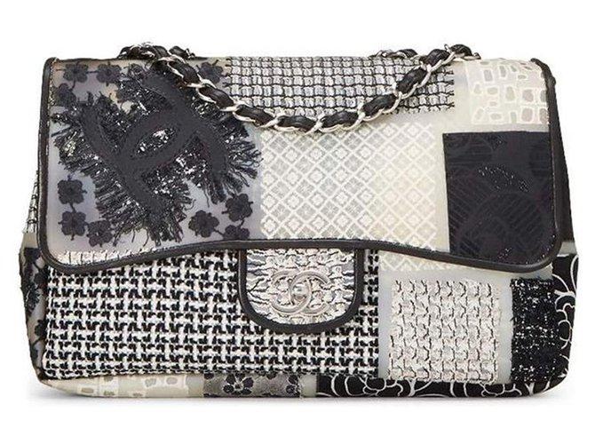 Sacs à main Chanel Chanel Classique Jumbo neuf en patchwork de PVC, cuir et tweed Cuir,Plastique,Tweed Multicolore ref.172103