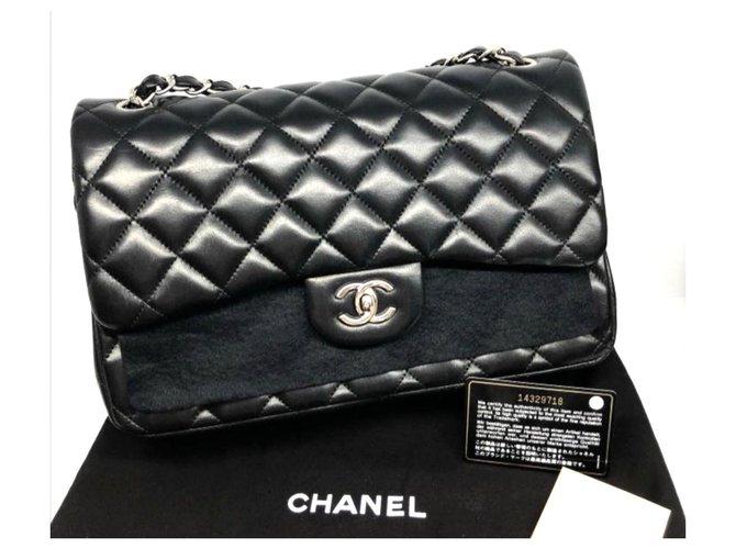 Chanel Chanel Black lambskin Jumbo classic flap bag Handbags Leather Black ref.172123