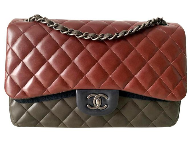 Chanel Chanel limited edition Jumbo classic flap bag Handbags Leather Brown,Dark red,Olive green ref.172127