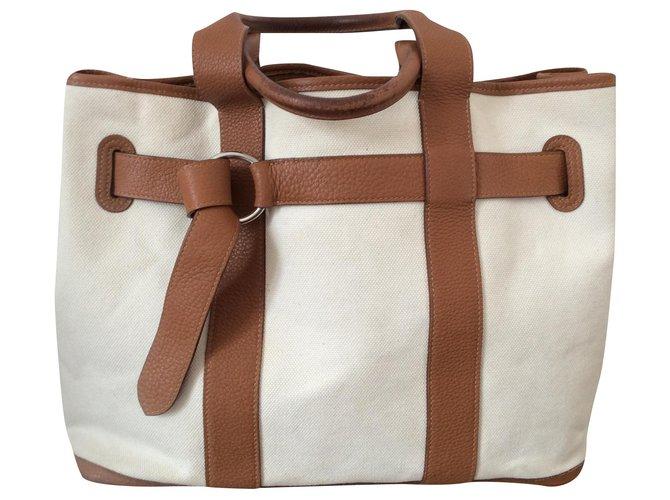 Hermès Hermes Small Belt Handbags Leather Eggshell ref.172184